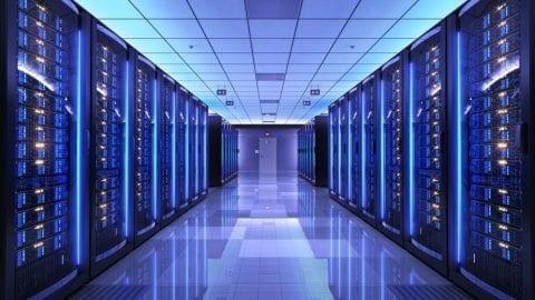 Server racks in server room data center