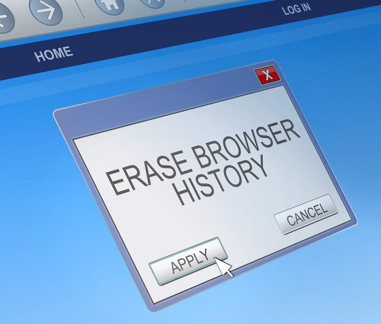 Delete browsing history concept.